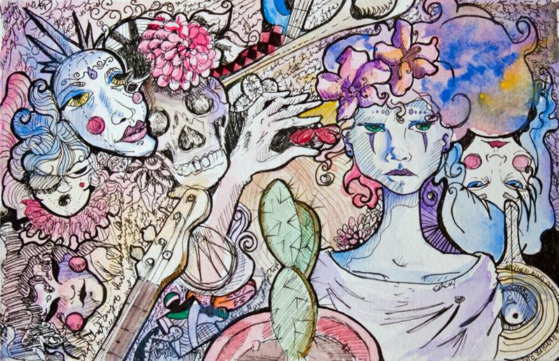 Sketchbook scribbles, watercolor, ink, colored pencil